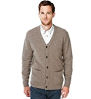 2in Longer Blue Harbour Extrafine Pure Lambswool V-Neck Cardigan