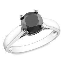 1.50Ct Beautiful Natural Round Brilliant Cut Black Diamond 925 Sterling Silver Ring * Size 7 (Free Re-size)