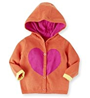 Pure Cotton Hooded Heart Print Cardigan