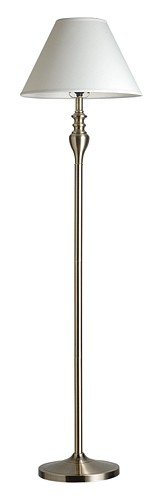Classic White Fabric Shade Antique Brass Floor Lamp