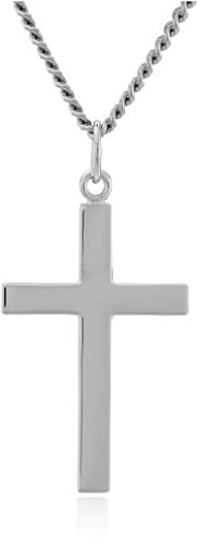 Men's Sterling Silver Solid Polished Cross with Lord's Prayer and Stainless Steel Chain,…