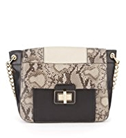 M&S Collection Faux Snakeskin Design Shoulder Bag