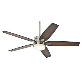 Hunter 59039 Windemere 54 in. Indoor Ceiling Fan with Light and Remote - Brushed Nickel (Downrod For Hunter Ceiling Fan compare prices)