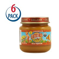 Earth's Best Organic Baby Food Stage 1 - Ages 4 Months and Up First Squash -- 2.5 oz Each / Pack of 6