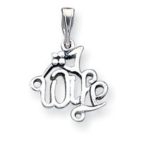 Sterling Silver Number 1 Wife Pendant - JewelryWeb