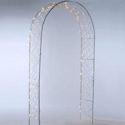 Lighted Wedding Arbor Archway, 8 Ft., White Frame, White Lights