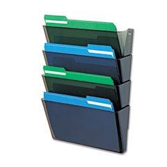 * DocuPocket Four-Pocket Wall Set, Plastic, Letter, 13 x 4 x 7, Smoke