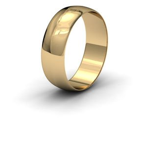 9ct Yellow Gold, 7mm Wide, 'D' Shape Wedding Ring - Size N
