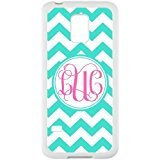 Pink Monogram Personalized Cyan and White Chevron Pattern with Cursive Initials luxury cover case for Samsung GALAXY S5 Mini(White)ALL MY DREAMS (Samsung S5 Mini Initial Covers compare prices)