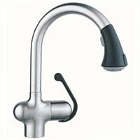 GROHE 33 755 KD0 Ladylux Cafe Pull-Out Kitchen Faucet, Stainless Steel/Black