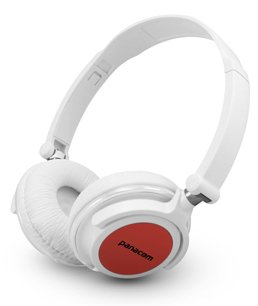 White And Red Super Clear Stereo Sound Headphones With Foldable And Rotatable Ear Cups And In-Line Volume Control