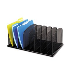 ** Mesh Desk Organizer, Eight Sections, Steel, 19 3/8 x 11 3/8 x 8, Black **