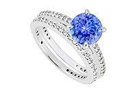 14K White Gold Tanzanite Diamond Engagement Ring with Wedding Band Sets 1.25 CT TGW MADE IN USA