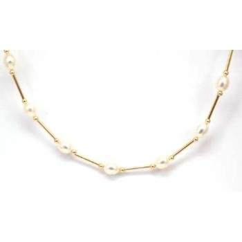 Toc 9ct Yellow Gold Cream Freshwater Pearl 17 Inch Necklace