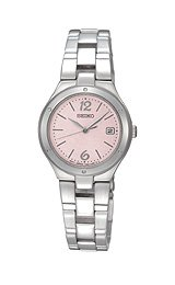Seiko Stainless Steel Dress Bracelet Pink Dial Women's Watch #SXDC49
