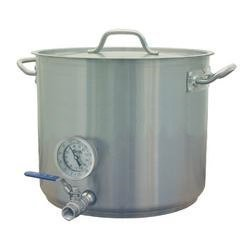 25 Gal Heavy Duty Beer Brewing Kettle w/ Valve & Thermometer (Weldless Ports) Bargain Home Brew