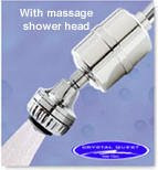 Crystal Quest Shower Filter Chrome with Massage Shower Head by CRYSTAL QUEST