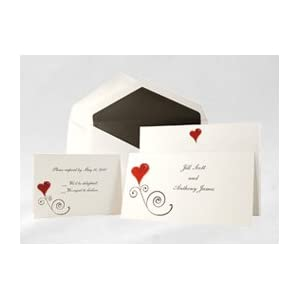 Whimsical Hearts Red Wedding Invitation (50 Pack)