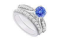 14K White Gold Tanzanite and Diamond Engagement Ring with Wedding Band Set 1.15 CT TGW MADE IN USA
