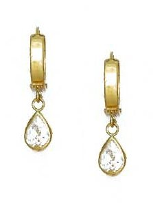 14ct Yellow Gold 7x5 mm Pear Clear CZ Drop Hinged Earrings