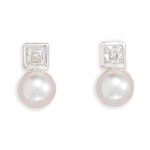 White Pearl and Square Cubic Zirconia Post Stud Earrings Sterling Silver