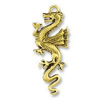 Pendant – Dragon 49x20mm Pewter Antique Gold Plated