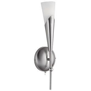 Wandleuchte Energiespar Metall Stahl, Glas opal matt Höhe 36,6cm