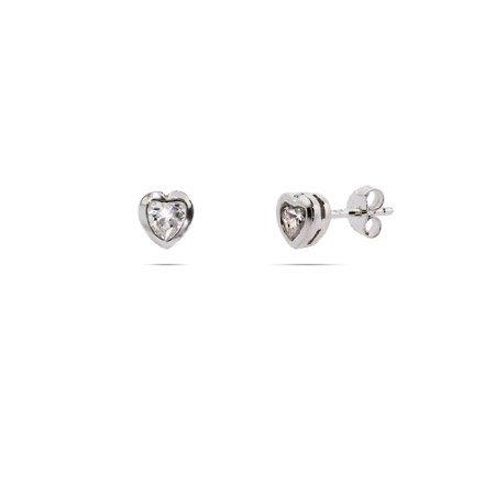 Sterling Silver Petite Bezel CZ Heart Stud Earrings