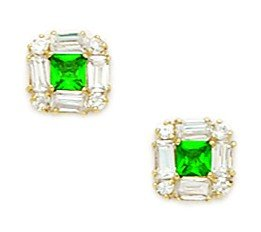 14ct Yellow Gold Green CZ Small Princess Baguette Cut Fancy Post Earrings - Measures 7x7mm