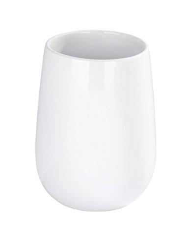 WENKO 21653100 Zahnputzbecher Malta - Zahnbürstenhalter für Zahnbürste und Zahnpasta, Keramik, 13.6 x 39 x 13.6 cm, Weiß -