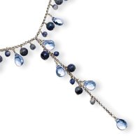 Sterling Silver Blue Crystal & Sodalite Dangle Necklace - 16 Inch