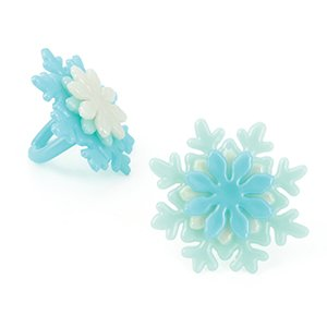 Frozen Snowflake Stacked Cupcake Topper Rings - Set of 12 - 1