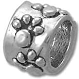 Dog Paw Print Solid 925 Sterling Silver Bead fits European Charm Bracelet