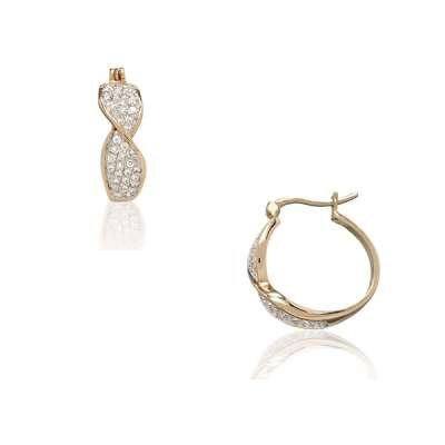 Elegant Sterling Silver Hoop Earrings 925 Sterling Silver with Gold Plated Glowing with CZ(WoW !With Purchase Over $50 Receive A Marcrame Bracelet Free)