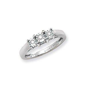 Unique Wishlist 9ct White Gold 6pt Illusion Set Diamond Trilogy Ring