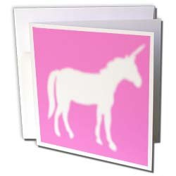 InspirationzStore Mythical Creatures White Unicorn silhouette on hot pink magical mystical mythical fantasy creatures and beasts Greeting Cards 12 Greeting Cards with envelopes