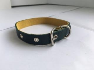 Pet Collars Leather for Cats Puppy Small Medium Dogs, Color Dark Green (Daisy Duke Fancy Dress)