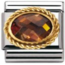 Nomination Composable Women's Bead Classic Faceted Czech Steel Gold 18K + Smoky Stone