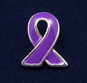 Purple Ribbon Pin - Silver Trim Tac (50 Pins)