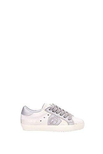 Sneakers Philippe Model Bambino Pelle Bianco Sporco e Argento CLL0S01A Bianco 25EU