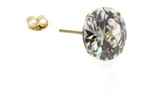 Birth Stone Jewels 9ct Yellow Gold 10mm Round C Z Set Men's Single Stud Four Claw Ear Ring