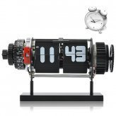 Electro-Mechanical Flip Clock with Alarm and White LED Lights (Black)