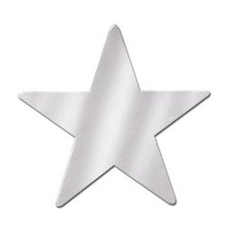 Foil Star Cutout (silver) Party Accessory  (1 count)