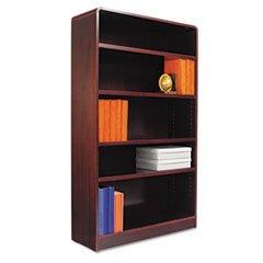 ** Radius Corner Wood Veneer Bookcase, 5-Shelf, 35 5/8w x 11-3/4d x 60h, Mahogany