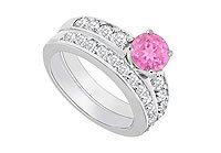 14K White Gold Pink Sapphire and Diamond Engagement Ring with Wedding Band Set 1.50 CT TGW MADE IN USA