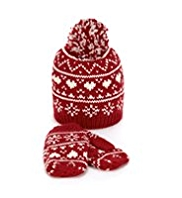 Fair Isle Hat & Gloves Set