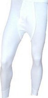 Mens White Thermal Brushed Underwear Long Johns- White XX Large - -