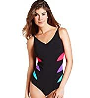 Tummy Control Contrast Panel Swimsuit