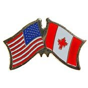 Metal Lapel Pin - American and World National Flag Crossed - Canada