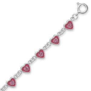 Children's Valentines Heart Bracelet Pink Crystal Heart Links Sterling Silver